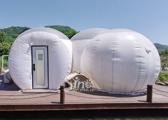 Outdoor Custom Made 3 Rooms Inflatable Bubble Tent Hotel With Steel Frame Tunnel Entrance From Sino Inflatables